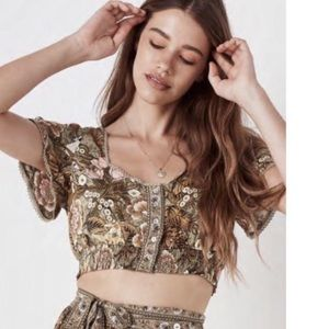 NWT! Spell & The Gypsy Jungle Cropped Top in Khaki